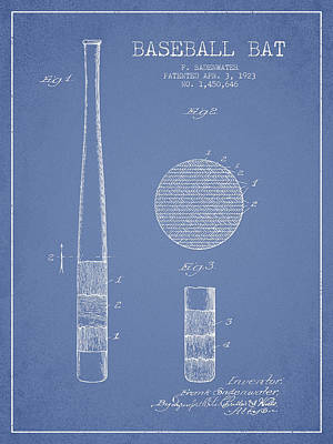 Sports Royalty-Free and Rights-Managed Images - Baseball Bat Patent Drawing From 1923 by Aged Pixel