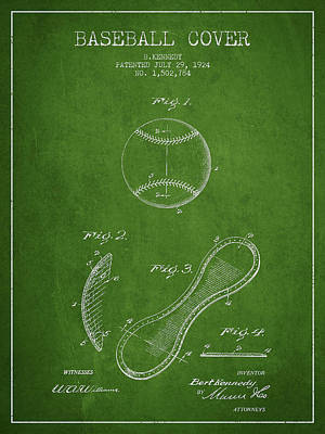 Baseball Art Drawing - Baseball Cover Patent Drawing From 1924 by Aged Pixel