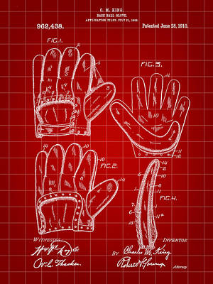Baseball Glove Patent 1909 - Red Art Print by Stephen Younts