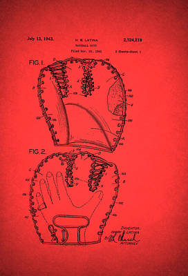 Baseball Art Drawing - Baseball Glove Patent 1943 by Mountain Dreams