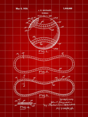 Baseball Patent 1927 - Red Art Print by Stephen Younts