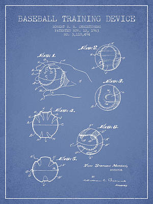 Baseball Art Drawing - Baseball Training Device Patent Drawing From 1963 by Aged Pixel