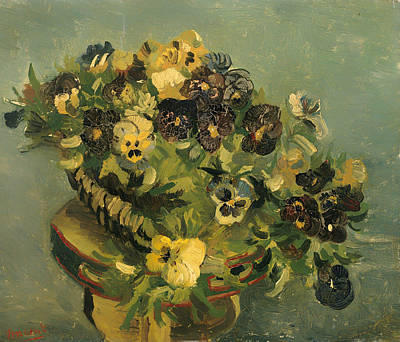 Interior Still Life Painting - Basket Of Pansies On A Small Table by Mountain Dreams