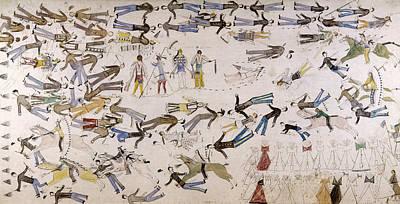 Rain Drawing - Battle Of Little Bighorn by Granger