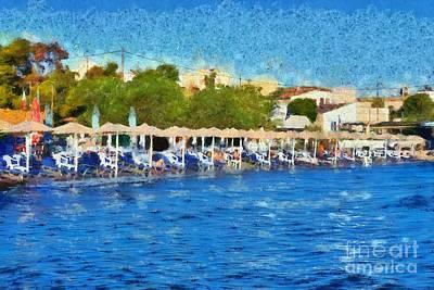 Umbrellas Painting - Beach In Aegina Town by George Atsametakis