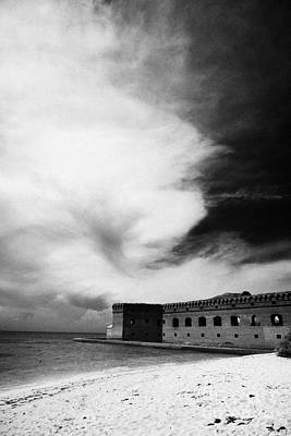 Beach In Front Of Fort Jefferson Brick Walls With Moat Dry Tortugas National Park Florida Keys Usa Art Print