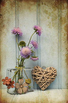 Stil Life Photograph - Beautiful Flower In Vase With Heart Still Life Love Concept by Matthew Gibson