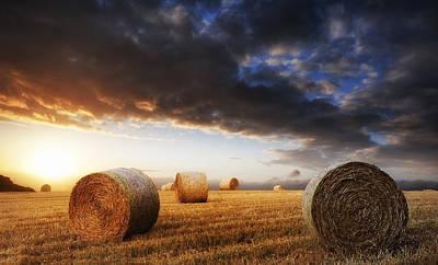 Beautiful Golden Hour Hay Bales Sunset Landscape Art Print by Matthew Gibson