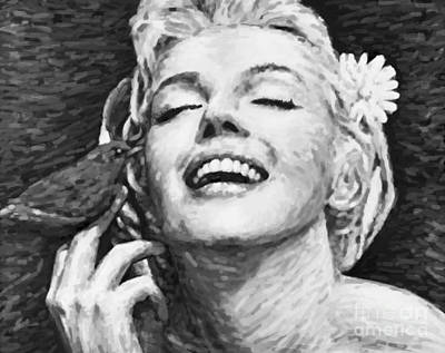 1950s Movies Painting - Beautifully Happy In Black And White by Atiketta Sangasaeng