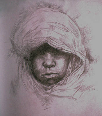 Sahara Drawing - Bedouin Child by Derrick Higgins