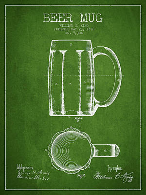 Keg Digital Art - Beer Mug Patent From 1876 - Green by Aged Pixel