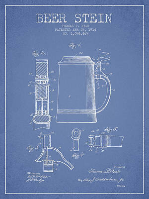 Beer Royalty-Free and Rights-Managed Images - Beer Stein Patent from 1914 - Light Blue by Aged Pixel