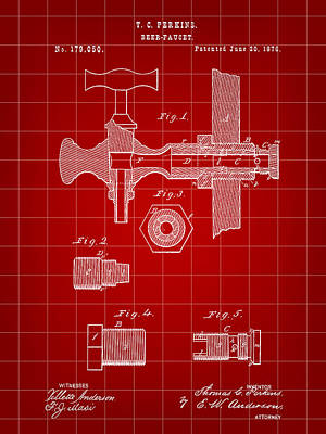 Fermentation Digital Art - Beer Tap Patent 1876 - Red by Stephen Younts