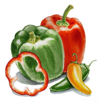 Bell Pepper Painting - Bell Peppers Jalapeno  by Irina Sztukowski