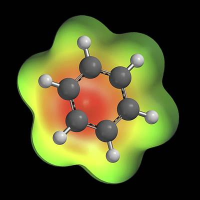 Atom Photograph - Benzene Aromatic Hydrocarbon Molecule by Alfred Pasieka