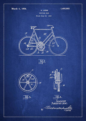 Transportation Digital Art - Bicycle Gear Patent Drawing from 1922 - Blue by Aged Pixel