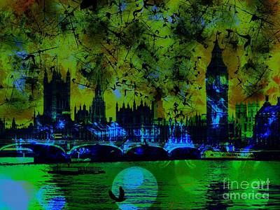 Epic Digital Art - Big Ben On The River Thames by Marina McLain