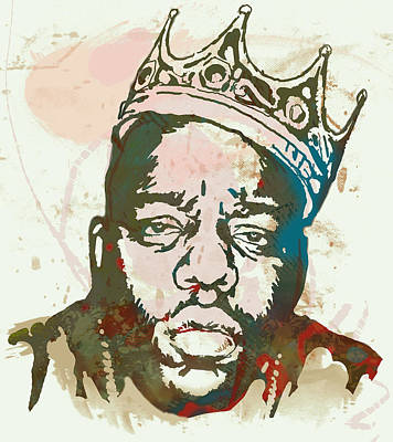 Character Portraits Drawing - Biggie Smalls Modern Art Drawing Poster by Kim Wang