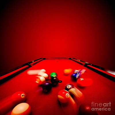 Table Photograph - Billards Pool Game by Michal Bednarek