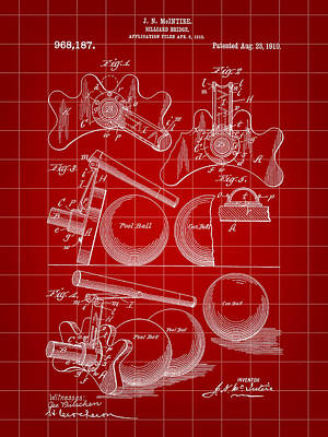 Pool Stick Digital Art - Billiard Bridge Patent 1910 - Red by Stephen Younts