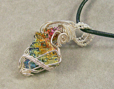 Heather Jordan Jewelry - Bismuth Crystal And Silver Pendant by Heather Jordan
