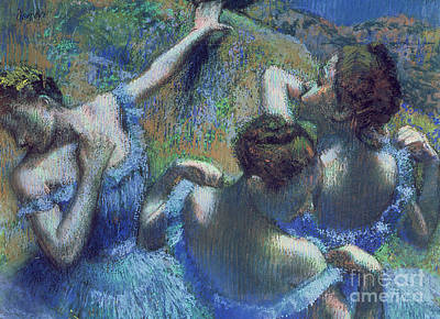 Ballet Art Pastel - Blue Dancers by Edgar Degas