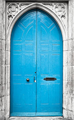 Medieval Entrance Photograph - Blue Door by Tom Gowanlock