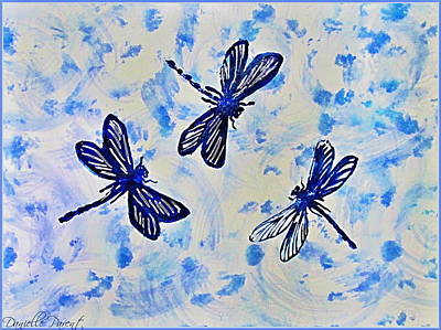 Libellule Painting - 3 Blue Dragonflies Alcohol Ink by Danielle  Parent