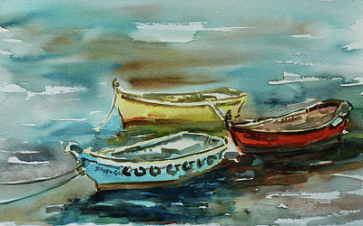 Painting - 3 Boats II by Xueling Zou