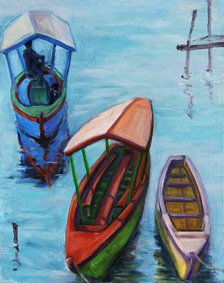 Painting - 3 Boats IIi by Xueling Zou