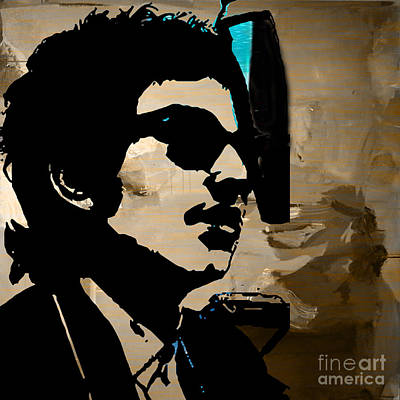 Bob Dylan Recording Session Art Print by Marvin Blaine