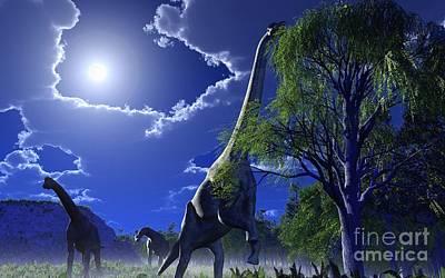 Brachiosaur Photograph - Brachiosaurus Dinosaurs, Artwork by Roger Harris