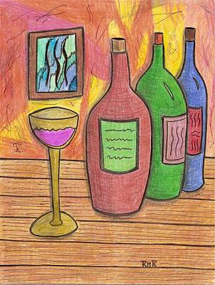 Bottle Of Wine Drawing - 3 Brands by Ray Ratzlaff