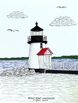 Drawing - Brant Point Lighthouse by Frederic Kohli