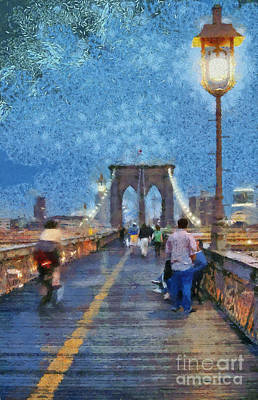 Brooklyn Bridge Painting - Brooklyn Bridge Promenade by George Atsametakis