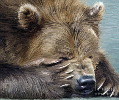 Kodiak Bear Painting - Brown Bear by Aleksey Tugolukov