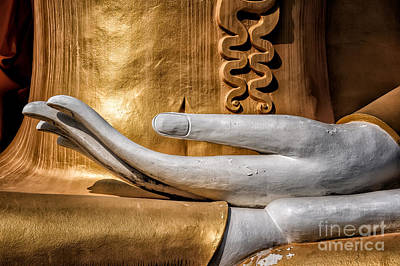 Golden Digital Art - Buddha Hand by Adrian Evans