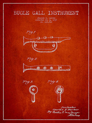Trumpet Digital Art - Bugle Call Instrument Patent Drawing From 1939 - Red by Aged Pixel