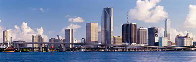 Florida Bridge Photograph - Buildings At The Waterfront, Miami by Panoramic Images