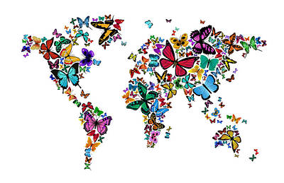 Butterflies Map Of The World Art Print by Michael Tompsett