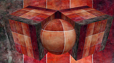 Digital Art - 3 By 3 Lava Geometric Shapes by Angelina Vick