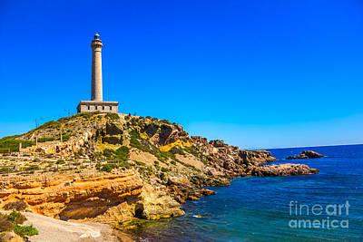 Royalty Free Images Photograph - Cabo De Palos Lighthouse On La Manga In Murcia by Dragomir Nikolov