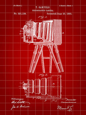 Nikon Digital Art - Camera Patent 1885 - Red by Stephen Younts
