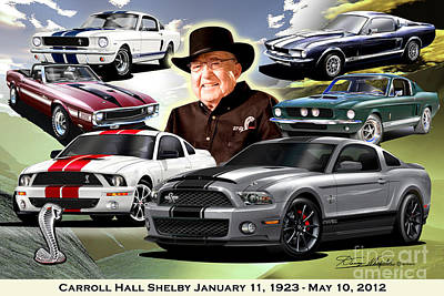 Super Cars Drawing - Carroll Hall Shelby January 11 1923  May 10 2012  by Danny Whitfield