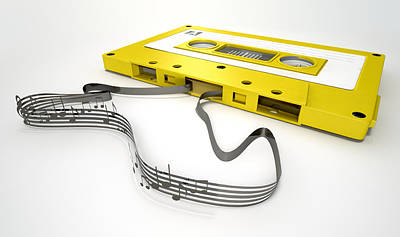 Cassette Tape And Musical Notes Concept Art Print