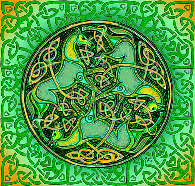 Celtic Knotwork Digital Art - 3 Celtic Irish Horses by Michele Avanti