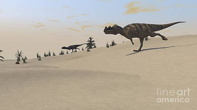 Prehistoric Digital Art - Ceratosaurus Running Across A Barren by Kostyantyn Ivanyshen