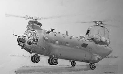 Chopper Drawing - Ch 47 Chinook Helicopter by Jim Hubbard