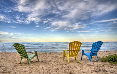 Lake Michigan Photograph - 3 Chairs by Scott Norris