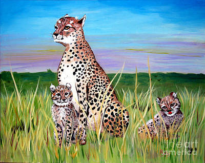 Painting - Cheetah Family by Phyllis Kaltenbach